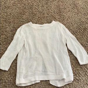 3/4 sleeve white sweater